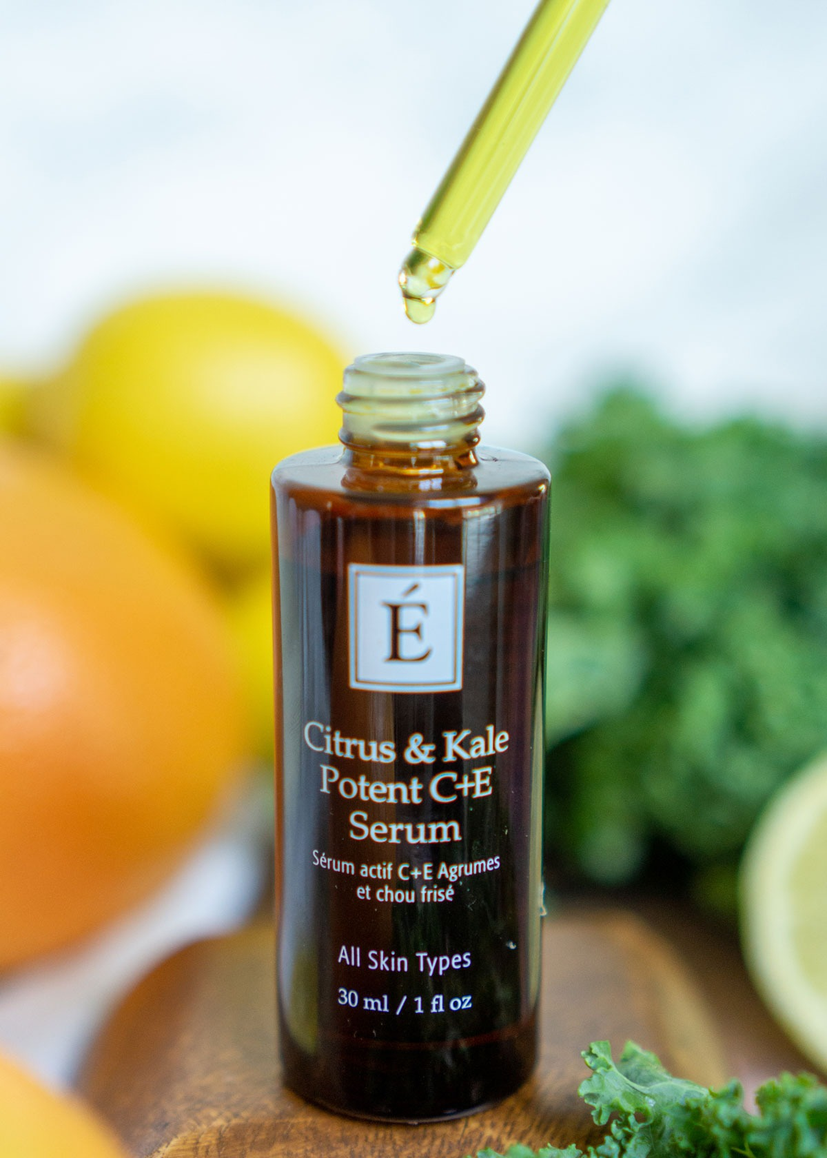 a bottle of Citrus and Kale serum